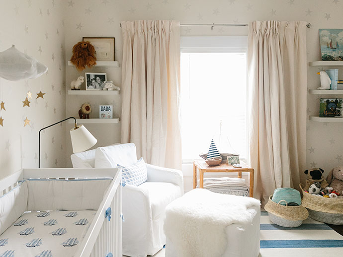 blue and white baby's room