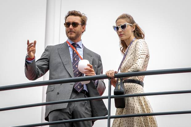 (L-R) Pierre Casiraghi and wife Beatrice Borromeo attend the F1 Grand Prix of Monaco on May 26, 2019 in Monte-Carlo, Monaco. (Photo by Marc Piasecki/WireImage)